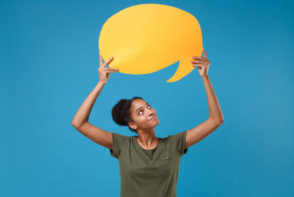 Woman with text bubble