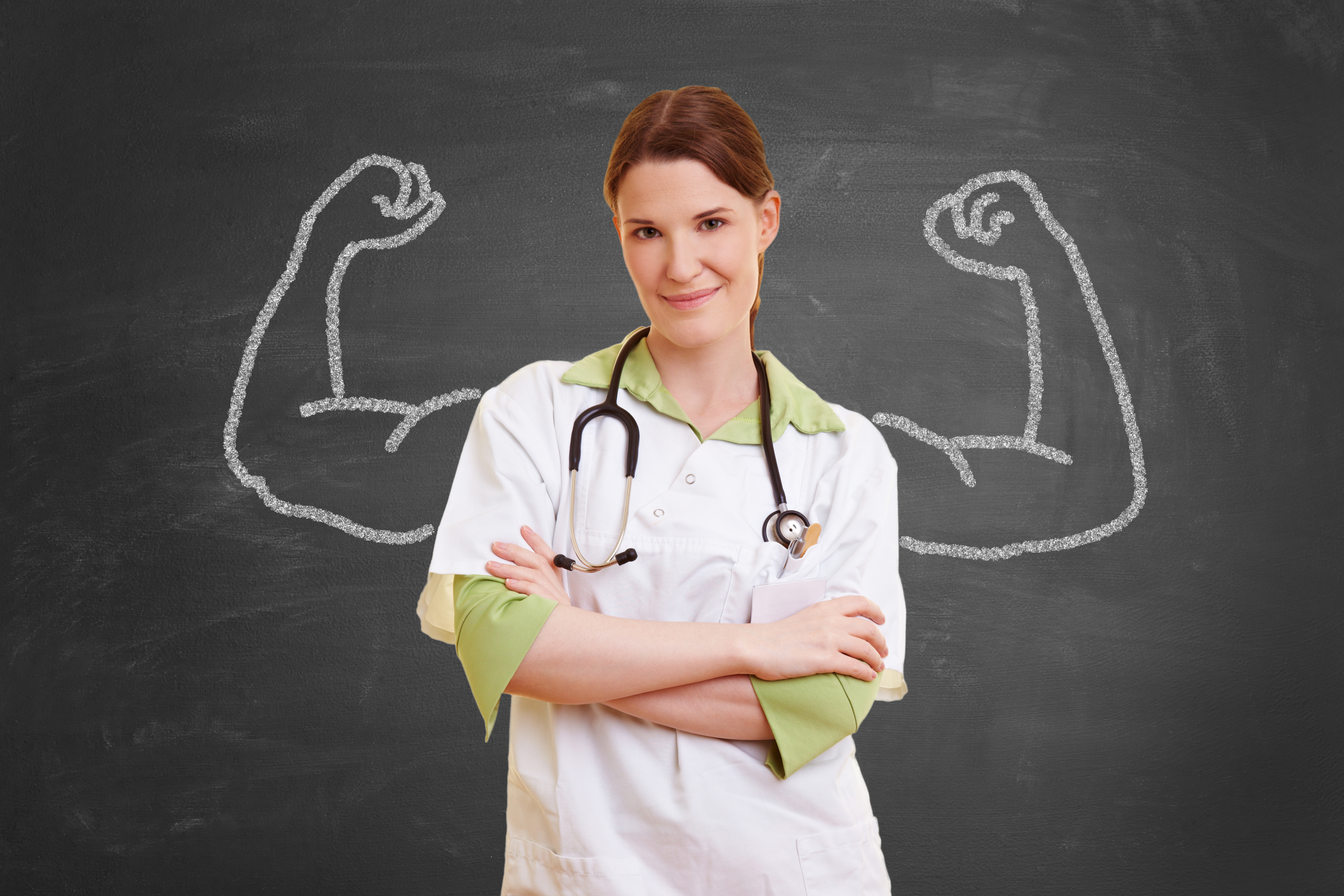 doctor with flexing muscles background